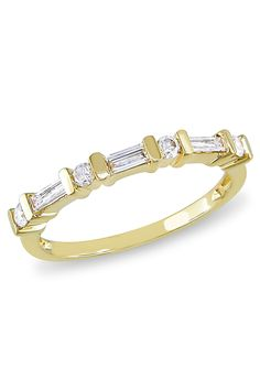 1/3 CT Baguette & Round Diamond Ring In 10k Yellow Gold