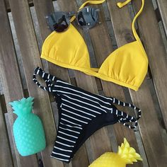 mix n' match never looked better • Beach Riot bikini top paired with Blue Life bikini bottom and Wildfox sunnies