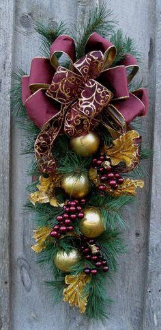 Christmas Swag Holiday Wreath Elegant by NewEnglandWreath on Etsy