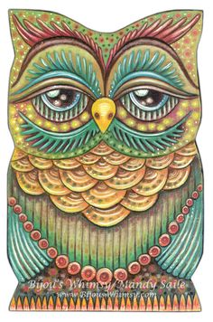 "Owlette OAKLEY - Owl Art - PRINT 8 x 10"" by Mandy Saile - Nature, Coloured Pencil, Woodland, Bird Art, Whimsical, Childrens Art. $20.00, via Etsy."