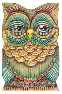 "Owlette OAKLEY - Owl Art - PRINT 8 x 10"" by Mandy Saile - Nature, Coloured Pencil, Woodland, Bird Art, Whimsical, Childrens Art. $20.00, via Etsy."