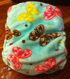 Handmade Butterfly Minky Large Pocket Nappy (side snaps).