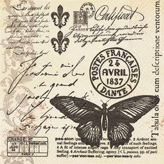 Paper Napkins -Butterfly Poetry- for Party, Decoupage Decopatch Craft Paper Napkins For Decoupage, Decoupage Vintage, Vintage Labels, Vintage Ephemera, Vasos Vintage, Butterfly Black And White, Paper Art, Paper Crafts, Etiquette Vintage