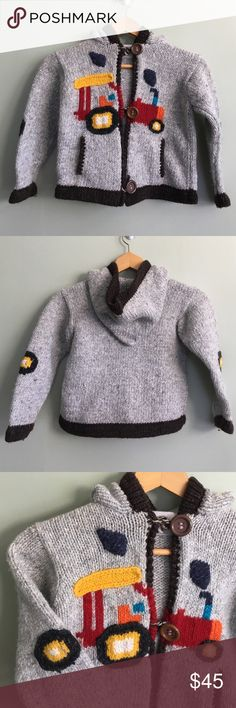 Ecuador handmade sweater 50% wool, 50% cotton. Thick & warm. Like new. Tractor design on front. Rare, adorable, boys sweater. Would fit about a 4T-6. Shirts & Tops Sweaters