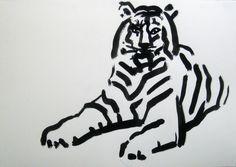 Tiger, tusch, 50x70cm