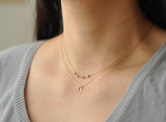 Tiny gold leaf  small simple gold filled necklace  by edor on Etsy, $20.00