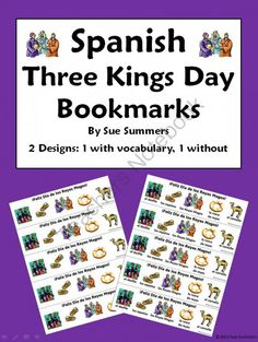 Three Kings Day Bookmarks In Spanish - With & Without Vocabulary Words from Sue Summers on TeachersNotebook.com -  (2 pages)  - 1 design with words, 1 without - Words include Three Kings, camel, parade, three kings bread, and shoes.