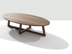 """Finn Solid Wood Round Coffee Table   Modern Occasional Tables  Speke Klein Contemporary Furniture; oval 48""""L x 24""""W x 12""""H; call for price"""