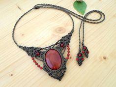 Carnelian macrame necklace macrame jewelry hippie necklace
