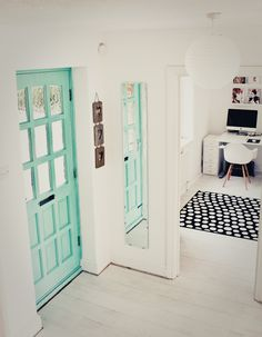 Heart Handmade UK: 15 Bright Pastel Decor Ideas - My Interior Design Ideas House Of Turquoise, Turquoise Door, Bedroom Turquoise, Interior Paint, Home Interior Design, Interior And Exterior, Interior Doors, Interior Decorating, Pastel Interior