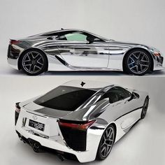 All wrapped up in chrome! Sexy, shiny Lexus LFA #Beautiful