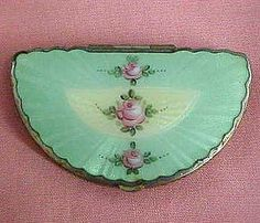 Vintage green guilloche enamel compact with roses, fan shape