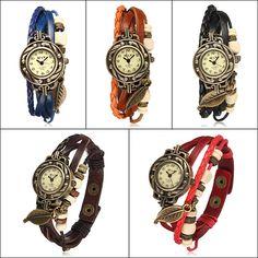 Vintage Weave leaf Leather Women Bangle Bracelet Quartz Wrist Watch Free Shipping! - US$3.84