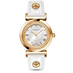 Versace Vanity Watch, 35mm ($1,195) ❤ liked on Polyvore featuring jewelry, watches, stainless steel watches, studded jewelry, white watches, studded watches and dial watches