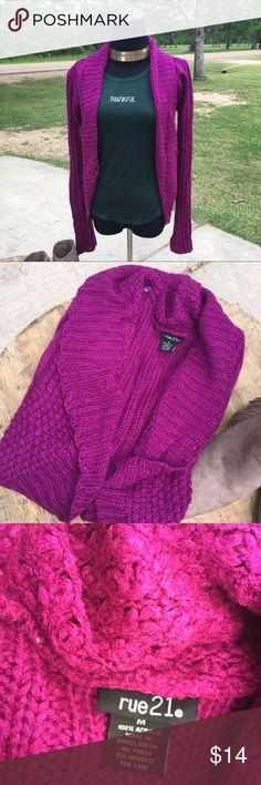 Raspberry Rue21 sweater/cardigan SzM Raspberry Rue21 sweater/cardigan SzM.. no rips or tears button is slightly loose nothing major.. Acrylic cozy sweater.. Rue 21 Sweaters Cardigans