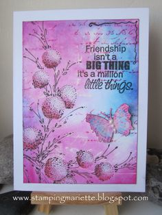 "By Mariëtte van Leeuwen. Distress ink on a stamped gesso background. Uses stamp from Penny Black's ""Delicate Florals."""