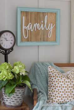 Start at Home Decor's Reclaimed Wood Signs.  Teal/Aqua Reclaimed Wood family sign