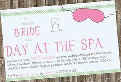 Bachelorette Party Invite Spa theme