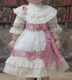 "Anique French Batiste dress for Jumeau Bru Steiner bebe or German doll 20-21"""