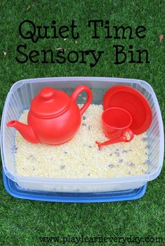 We made a calming sensory bin with chamomile rice and lavender flowers as a nice quiet time activity.