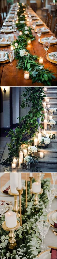 Diy Wedding Ideas 20 Stuning Wedding Candlelight Decoration Ideas You Will Love See more: Wedding Table Flowers, Wedding Flower Arrangements, Wedding Decorations, Diy Wedding Centerpieces, Wedding Greenery, Engagement Decorations, Spring Wedding, Dream Wedding, Wedding Day