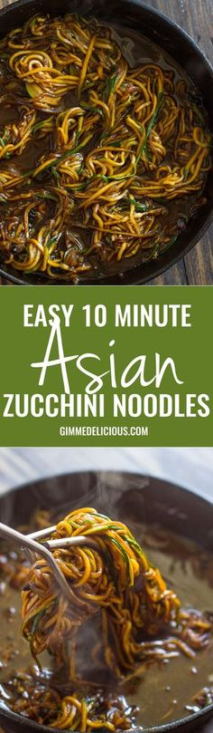 Easy 10 Minute Asian Zucchini Noodles (low-carb, Paleo) and LOTS of other zoodle recipes Asian Recipes, Low Carb Recipes, Vegetarian Recipes, Cooking Recipes, Healthy Recipes, Low Carb Zucchini Recipes, Freezer Recipes, Zoodles Recipe Low Carb, Low Carb Vegitarian Recipes
