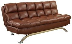 Modern Cast Leather Upholstery Sleeper Sofa Brown Couch Loveseat Bed Furniture  #Modern