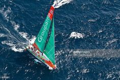 Groupama Sailing Team, skippered by Franck Cammas from France, sails in the final sprint to the finish of leg 4 of the Volvo Ocean Race 2011-12, from Sanya, China to Auckland, New Zealand on March 11, 2012.