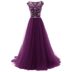 Tideclothes Long Beads Prom Dress Tulle Cap Sleeves Evening Dress ($91) ❤ liked on Polyvore featuring dresses, purple cocktail dress, cap sleeve prom dress, cap sleeve dress, prom dresses and long prom dresses
