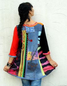 Multicolored recycled denim jeans dress tunic hippie by jamfashion