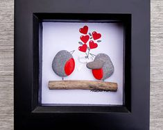 Mother's Day Gift, Mother's Day Pebble Picture, Mother's Day Present, Framed Mum's present, Gift for Mum, Robins Pebble, kieselsteinbilder