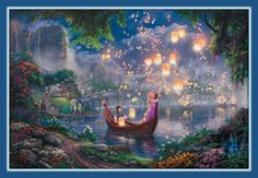 TANGLED Thomas Kinkade Rapunzel  Walt Disney Princess 11x14 Double matted Print Full Image 8 x 12 FREE SHIP on Etsy, $39.00