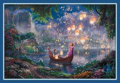 TANGLED Thomas Kinkade Rapunzel  Walt Disney Princess 11x14 Double matted Print Full Image 8 x 12 FREE SHIP on Etsy, $39.00