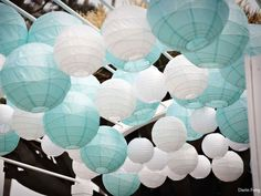 white and tiffany blue paper lanterns for outdoor reception Tiffany Blue Party, Tiffany Theme, Tiffany Wedding, Tiffany And Co, Aqua Party, Wedding Themes, Wedding Colors, Wedding Decorations, Wedding Ideas