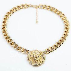 £3.42 Versatile Lion Head Pendant Alloy Necklace For Women