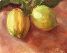 Fresh Lemons  16cm x 12cm, oil on gessoed card Painting status: SOLD  Daily painting for Friday 29 April, 2005