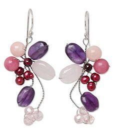 Beaded Rose Quartz and Pearl Dangle Earrings - Radiant Bouquet   NOVICA