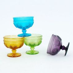 4-Pc. Vintage Style Ice Cream Bowls - Assorted Colors - Dot & Bo