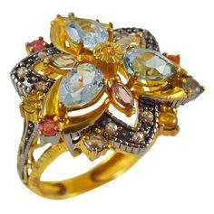 Ασημένιο επίχρυσο δαχτυλίδι με πολύχρωμες πέτρες Brooch, Vintage, Antiques, Silver, Collection, Jewelry, Antiquities, Antique, Jewlery