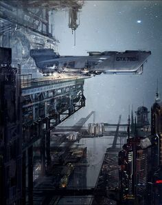Ship at a spaceport, #spaceopera #scifi inspiration GTX + steps, klaus wittmann on ArtStation at https://www.artstation.com/artwork/gtx-steps