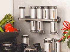 Hmmmmm, I think I really like this. Zevro Magnetic Spice Rack w/ 12 Cannisters.