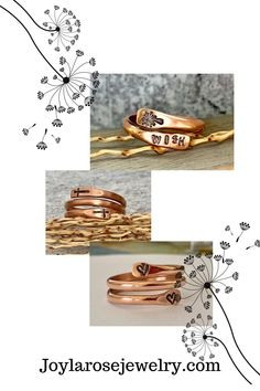 Dandelion make a wish copper ring - Stamped Adjustable Ring - Arthritis Relief Jewelry