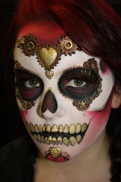Sugar Skull with red and gold.