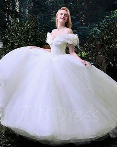 Off the Shoulder Ruffles Cinderella White Tulle Ball Gown Wedding Dress & fairytale Wedding Dresses dresses ball gown ruffles Cinderella Dresses, Princess Wedding Dresses, White Wedding Dresses, Designer Wedding Dresses, Bridal Dresses, Tulle Wedding, Dress Wedding, Wedding White, White Princess Dress