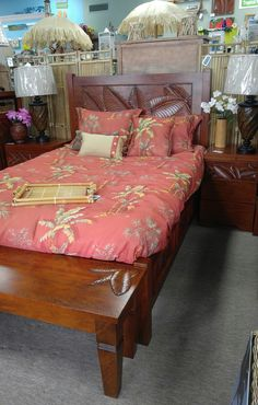 Tropical Palm leaf collection, hand carved details. solid mahogany wood. Bed With Drawers, Solid Wood Furniture, Bedroom Furniture, Hand Carved, Beach House, Coastal, Palm, Bedding, Tropical