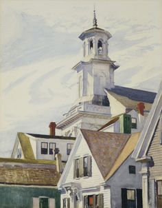 This is a rendering of a Methodist Church Tower. The date is placed in The artist was Edward Hopper. He lived This was his interpretation of a Methodist church of the time. American Realism, American Artists, Johannes Itten, Edward Hopper Paintings, Ashcan School, Cape Cod, Oeuvre D'art, Les Oeuvres, Art History