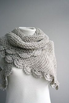 garter stitch shawl with a crochet edging - love it!