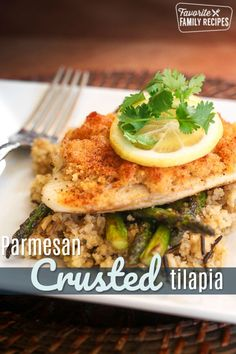 This broiled Parmesan Crusted Tilapia is tender and flaky on the inside and crispy on the outside. This recipe takes less than 20 minutes start to finish! Tilapia Recipes, Fish Recipes, Seafood Recipes, Beef Recipes For Dinner, Lunch Recipes, Yummy Recipes, Savoury Recipes, Yummy Food, Parmesan Crusted Tilapia