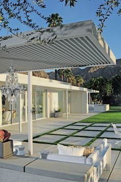 Outdoor pavers. Trellis + seating. | Emily Summers: Eldorado Residence, Palm Springs