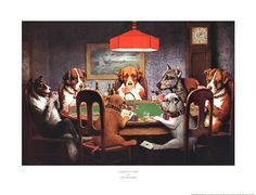 Dogs Playing Poker painted by Cassius Marcellus Coolidge. I chose this painting because the idea of dogs playing poker is funny Most Famous Paintings, Dog Paintings, Famous Artists, Classic Paintings, Famous Artwork, Jouer Au Poker, Dogs Playing Poker, Cats Playing, Culture Pop